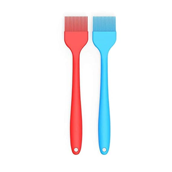 Verigle Silicone Basting Brush Heat Resistant Food Grade for for BBQ Grill Barbecue Baking Kitchen Cooking, 8.3 inch, Red&Blue 1 【SAFE】Brush surface coated with high quality food grade silicone, FDA approved, does not contain BPA.Pastry brush resistance temperature to 446 ℉ (230 ℃.So you can apply food, even when grilling and brushing won't melt or shrink. 【GREAT EXPERIENCE】the multi-layer silicone bristles have gaps in the center to better hold the liquid as it moves from the bowl to the food. 【SEAMLESS DESIGN】Unlike other bristles, silicone bristles do not break or fall off in food.Specially designed to avoid the brush head from falling off or becoming loose when applied.Silicone brushes do not stick to bacteria.No stains.