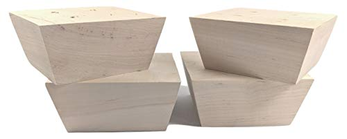 "Set of 4 Furniture Feet Legs Raw Unfinished Tapered Approximately 6""x 6""x 3"" High Maple Wood with Pre-Drilled Mounting Holes"