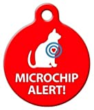 Microchip Alert Cat Pet ID Tag for Dogs and Cats - Dog Tag Art - SMALL SIZE