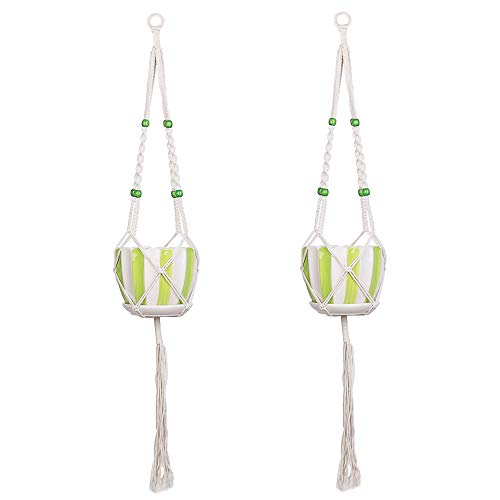 - Macrame Plant Hangers, Moutik 2 Pack Hanging Plant Holders Indoor Outdoor Hanging Planter Basket Cotton Rope 4 Legs 43 Inch
