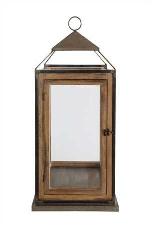 13'' Square x 30-1/2''H Metal, Glass & Wood Lantern by Creative Coop