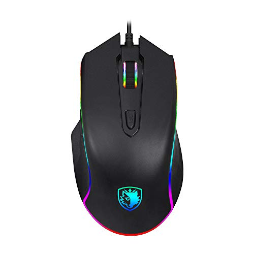 Premium Version SADES Gaming Mouse Wired -Scythe- 7 Programmable Buttons, 11 RGB Lighting, 4000 DPI Adjustable, Comfortable Grip Ergonomic Optical PC Computer Gaming Mice with Sniper Button