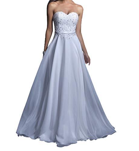 Charmant Abendkleider Lang Chiffon Weiß Spitze Partykleider Damen Rosa Promkleider Abschlussballkleider xqgIqr