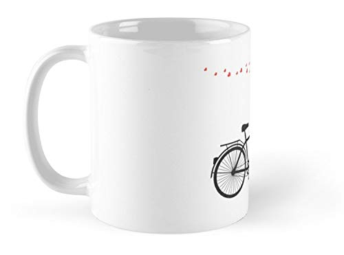 Tandem Bicycle And Flying Red Hearts For Valentine'S Day Wedding Invitation 11oz Mug - Great gift for family and friends.]()