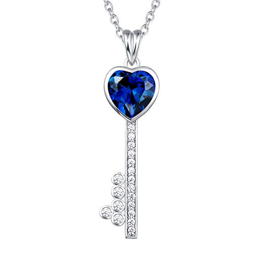 (Agvana 925 Sterling Silver Blue Cubic Zirconia CZ Key Heart Love Pendant Necklace Key to Her Heart Chic Fine Jewelry Gifts for Women Girls Teens with Gorgeous Jewelry Box, 16