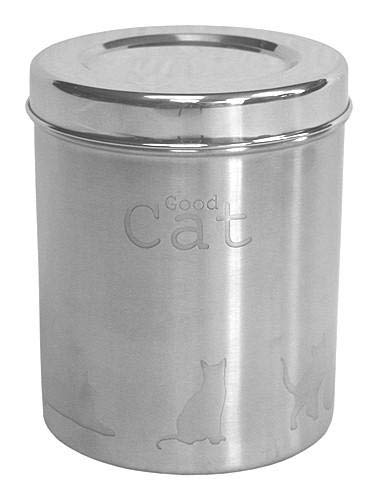 Mountain Woods – A Pet Project Stainless Steel Cat Food Canister, Silver | Steel Container With Lid – 6″ x 7.5″