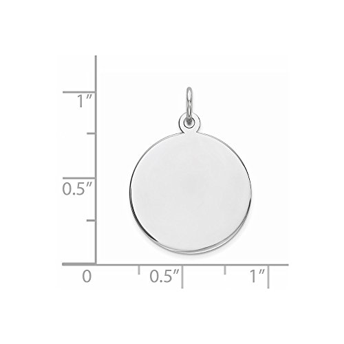 Sterling Silver Engravable Round Disc Charm (0.8in) (Disc Engravable)