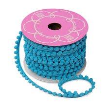 Premium Soft Pom Pom Trim on Heavy Duty Trim 9 MM by 15 Yards Turquoise