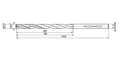 Mitsubishi Materials MHS0890L090B MHS Series Solid Carbide Drill 10 mm Shank Dia. 1.6 mm Point Length 7 mm Hole Depth Internal Coolant 8.9 mm Cutting Dia