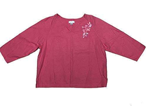 Christopher and Banks Women's Pullover Tunic Floral Embroidery w/Beads Medium Pink from CHRISTOPHER & BANKS