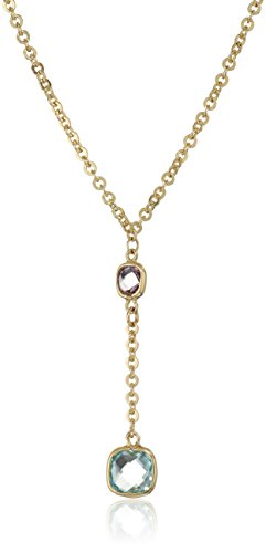 14k Yellow Gold Briolette Cut Amethyst and Blue Topaz Drop Necklace, 18