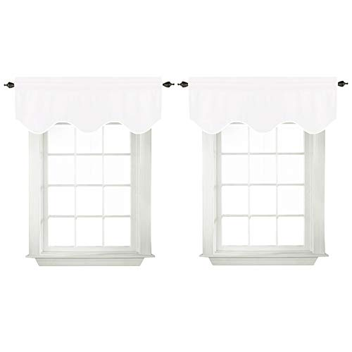 (White Valances for Bedroom Windows Blackout Thermal Insulated Curtain Valances for Kitchen Bathroom, Rod Pocket 52