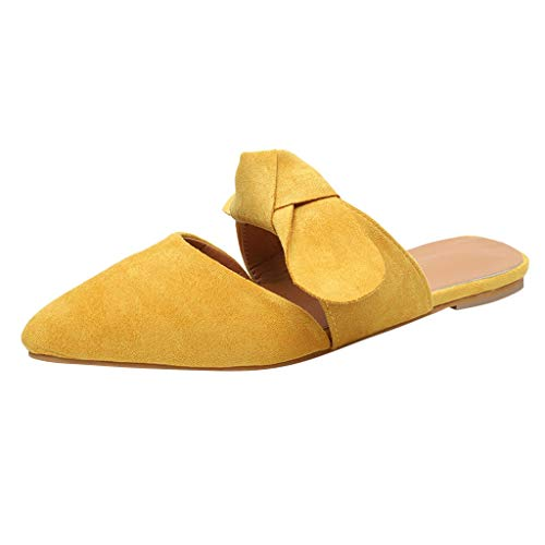 (TOTOD Female Shoes 2019 New Women Casual Pointed Bow Slippers Summer Basic Flock Flat with Sandals Yellow)