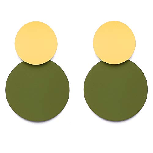 (LILIE&WHITE Round Curved Dangle Earrings With Matte Paint Discs For Women Jewelry Green)