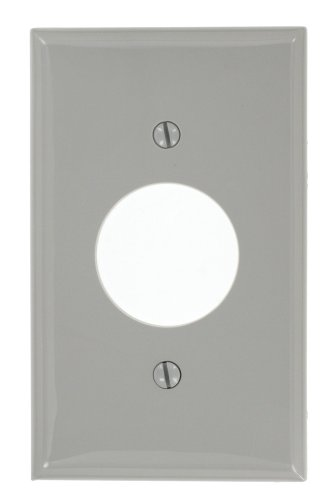 Leviton 80704-GY 1-Gang Single 1.406-Inch Hole Device Receptacle Wallplate, Gray - Leviton Single Gang Duplex
