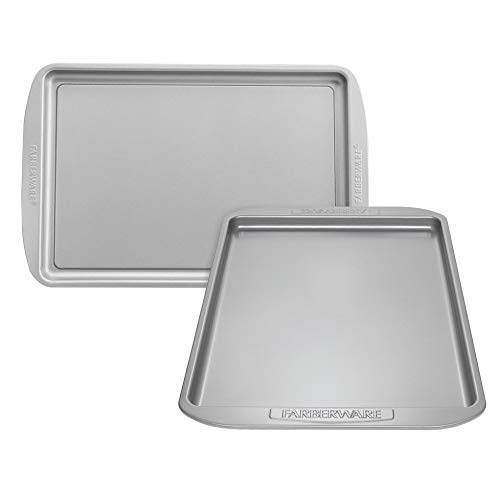 Farberware 47745 Cookie Pan Steel Baking Sheet, 2-Pack, Gray