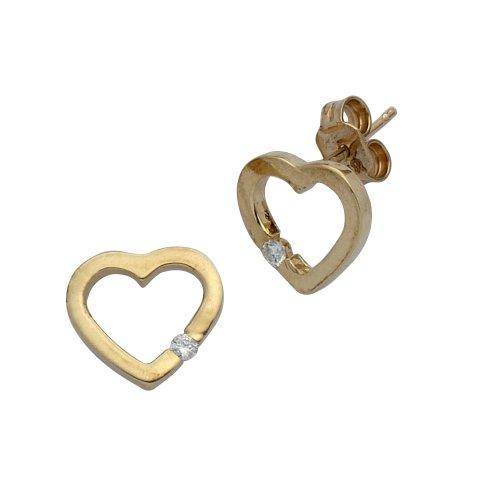 H. Gaventa Ltd - E - 11653 - Boucles d'oreille Femme - Coeur - Or jaune (9 Cts) 1.65 Gr - Diamant