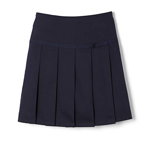 Pleated Twill Skirt - French Toast  Girls' Pleated Scooter With Gross Grain Ribbon, Navy, 6X,Little Girls