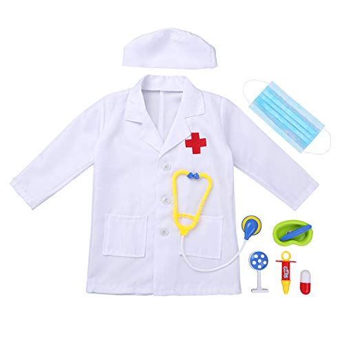 YOOJIA Unisex Kids Girls Boys Doctor Cosplay Costume Outfit Long Sleeves Coat with Cap Mask Doctor Play Tools Set White 4-5 -