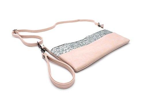 Borsa Galanteria Spalla Pallido Con Tracolla A Strass Glitter Blanc Rosa Donne w7xzrRnw