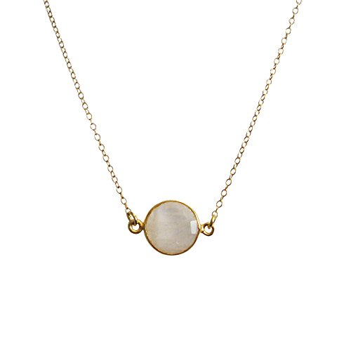 (22K Gold plated 925 Sterling Silver Chain Necklace with Moonstone Round Bezel Gemstone Necklace (18))