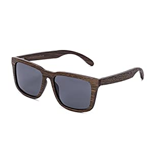 Tree Tribe Woodsman Sunglasses, Polarized Lens - Real Wood Frames + Bamboo Case - Brown Frame with Tribal Engraving