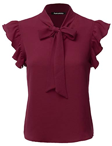 (FASHIONOLIC Women's Casual Cap Sleeve Bow Tie Blouse Top Shirts (PSALM23) Burgundy)