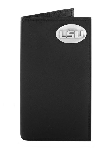 NCAA Lsu Tigers Black Pebble Grain Leather Roper Concho Wallet, One (Lsu Black Leather)