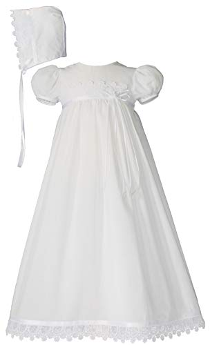 Little Things Mean A Lot 100% Cotton Handmade Girls Christening Special Occasion Dress with Italian Lace - 3M