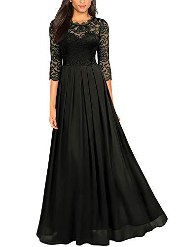 Miusol Women's Formal Floral Lace Wedding Bridesmaid Maxi Dress,X-Large,Black