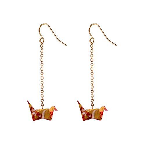 Handmade Creative Paper Crane Origami Women's Earrings 1PC (2PCS - Leaf Gold Cranes