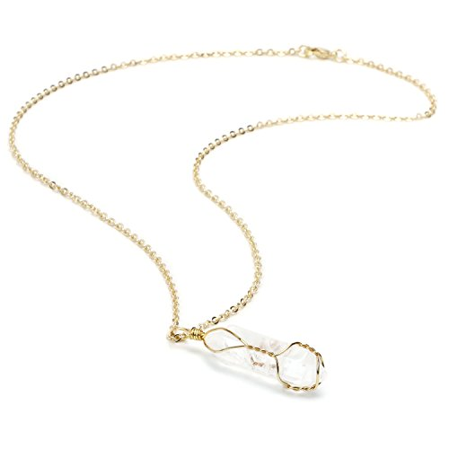 (BOUTIQUELOVIN Clear Quartz Genuine Gemstone Pendant Necklace in Gold Tone on 20