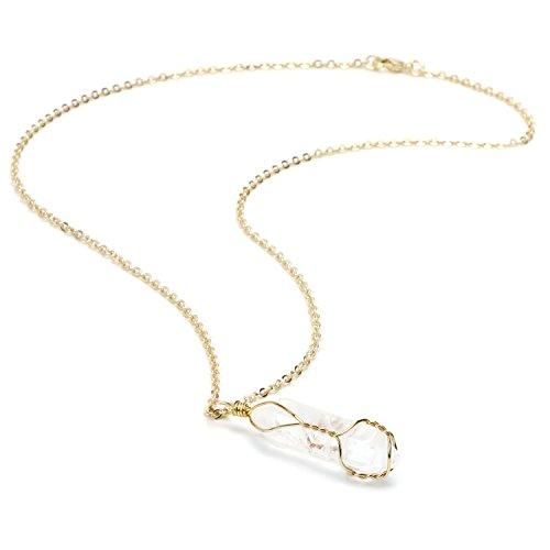 BOUTIQUELOVIN Clear Quartz Genuine Gemstone Pendant Necklace in Gold Tone on 20