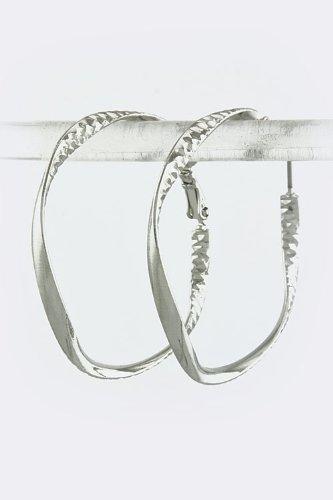 KARMAS CANVAS SQUARED OFF HOOP EARRINGS (Silver)