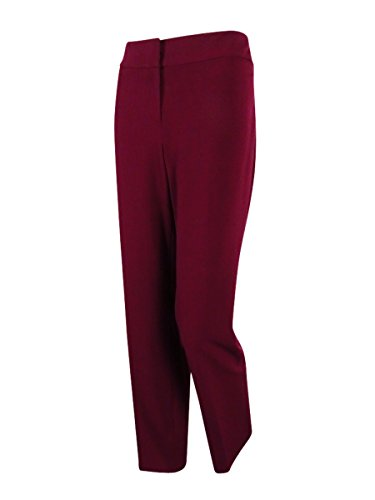 Nine West Women's Stretch Crepe Trouser Pant, Wine, 16