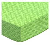 SheetWorld Fitted Square Playard Sheet 37.5 x 37.5 (Fits Joovy) - Geo Green - Made In USA