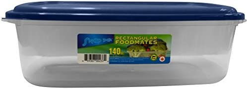 StoreMaxx Foodmates 235 Rectangular Food Storage Container with Clear Base/Blue Lid, Large 63.4 oz. Capacity, Slate Blue/Opaque, 100% PBA Free