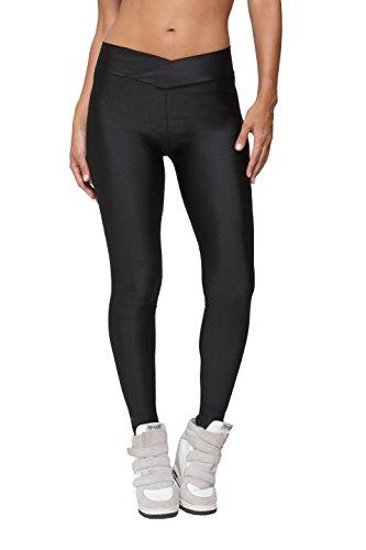 Ferrendo Womens Skinny Shiny Spandex Yoga Pants Stretchy Workout Sports Running Leggings