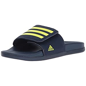 adidas Boys' Adilette Clf+ Adj K Sandal, Collegiate Navy/Semi Solar Yellow/Semi Solar Yellow, 6 Medium US Big Kid