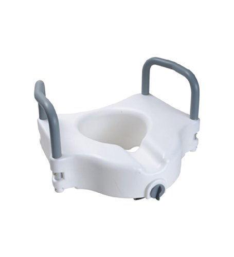 Secure Elevated Toilet Seat With Padded Removable Hand Rails