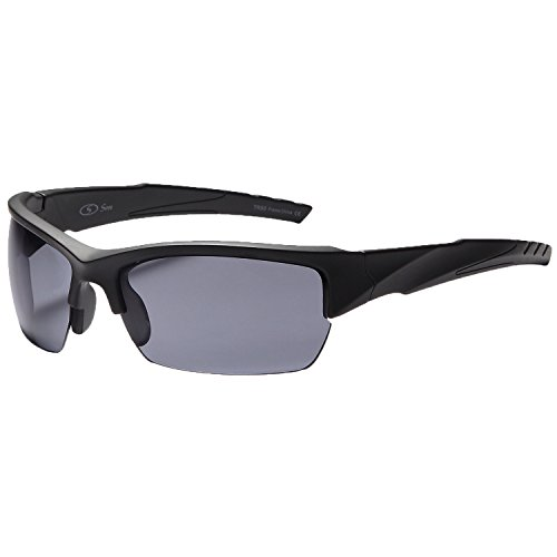 Siren Vanguard Sports Sunglasses UV400 Choose Polarized Normal Lens (Polarized Grey Lens Black Frame)