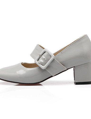 GGX/ Schuhe Patent Frauen klobige Ferse Fersen / runde Zehe Fersen Partei&Abend / Kleid / casual schwarz / rot / grau black-us5.5 / eu36 / uk3.5 / cn35