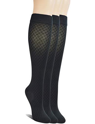 Yomandamor Womens Seamless Bamboo Knee High Tube Socks Breathable Non-binding Mesh Socks,3 Pairs