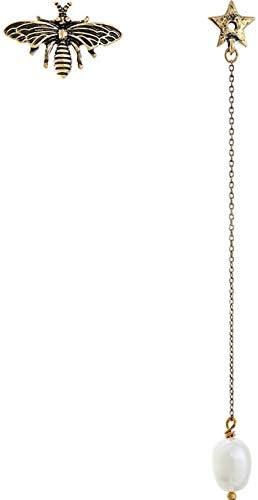 SupKey.L Pendientes asimétricos Cadena de aleación Larga Insectos Perla cultivada Pendientes Colgantes Mujeres JoyeríaAntigua Chapado en Oro Antiguo