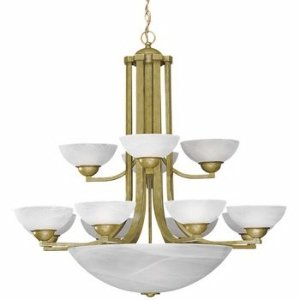 Satin Nickel Fifteen-Light Chandelier with Alabaster Glass Shades