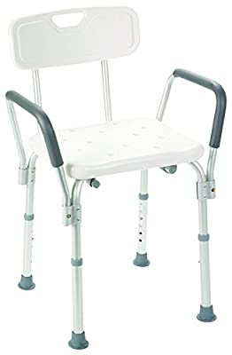 Rose HealthCare 1059 Deluxe Bath/Shower Bench with Back and Armrests Weight Limit, 250 lb.