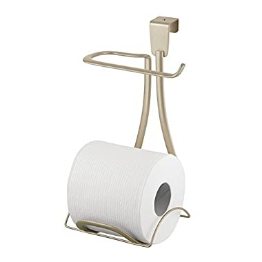 mDesign Toilet Paper Holder for Bathroom Storage, Over the Tank - Pearl Champagne