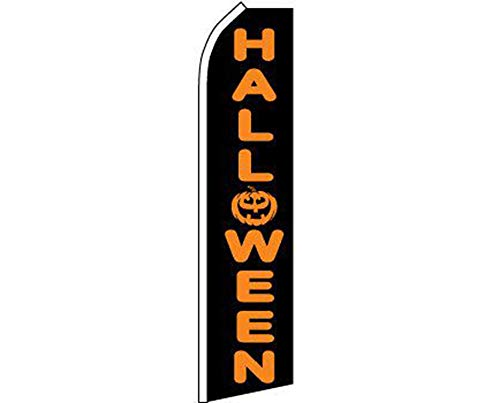 ALBATROS Halloween Black Orange Swooper Super Feather Advertising Flag for Home and Parades, Official Party, All Weather Indoors Outdoors