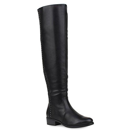 Stiefelparadies Damen Overknees Langschaft Stiefel Overknee Boots Strick Metallic Flandell Schwarz Avion