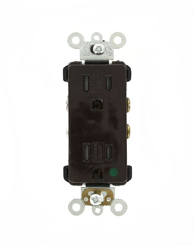 Leviton 16262-SG 15 Amp, 125 Volt, Decora Plus Duplex Receptacle, Straight Blade, Hospital Grade, Self Grounding, Tamper Resistant, (Brown Hospital Grade Receptacle)